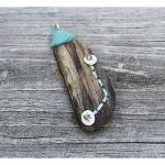 Driftwood Pendant, Felt and Bone - ..